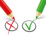 Red Green Pen Wrong Right. Pro and contra list with pens on the white Royalty Free Stock Photos