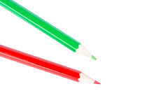 Red and green pencil Royalty Free Stock Photos