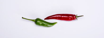 Red and green pepers. Red and green chili pepers stock images