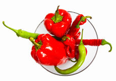 Red and green pepper composition Royalty Free Stock Photo