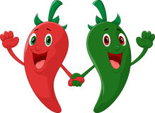 Red and green pepper holding hand Stock Photography