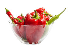 Red and green pepper in salad dish Royalty Free Stock Images