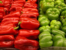 Red and green peppers. Fresh red and green peppers royalty free stock images