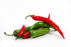 Red and green peppers. Royalty Free Stock Photo