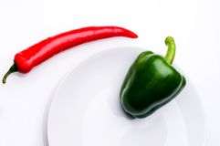 Red and green  peppers Royalty Free Stock Photography