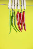 Red and green peppers. Hanging on a clothespin Stock Image