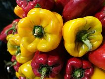 Red and Green peppers at farmers market Stock Images
