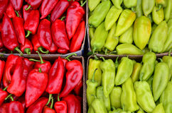 Red and green peppers. Full frame of red and green peppers background - heap of red and green peppers in cardboard box ready for sale Stock Photos