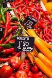 Red and green peppers hung to dry in the La Boqueria market Barcelona Royalty Free Stock Photos