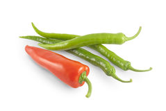 Red and green peppers with path Royalty Free Stock Image