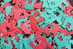 Red and green plastic bread tags stock photo