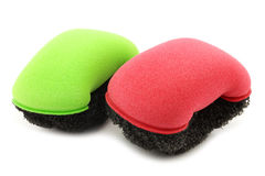 Red and green plastic and foam abrasive pads Royalty Free Stock Images