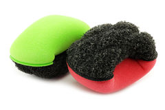 Red and green plastic and foam abrasive pads Stock Photo