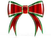 Red with green plastic gift bow Royalty Free Stock Photography