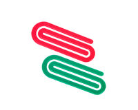 Red and green plastic paper clip Royalty Free Stock Photography