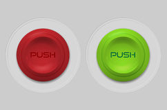 Red and green plastic push button Royalty Free Stock Photos