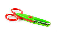 Red and green plastic scissors Stock Photography