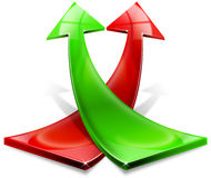 Red and green positive arrows Royalty Free Stock Photo