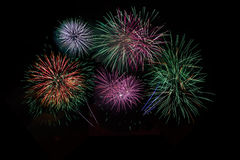 Red green purple lilac fireworks Stock Photo