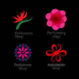 Red, green and purple perfumery brand logos set on Royalty Free Stock Image