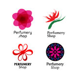 Red, green and purple perfumery brand logos set Stock Images