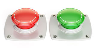 Red and green push buttons, 3D rendering Royalty Free Stock Image