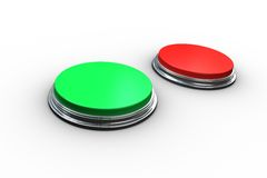 Red and green push buttons Royalty Free Stock Image