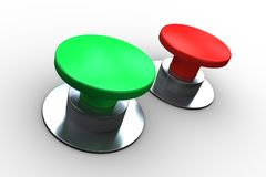Red and green push buttons Royalty Free Stock Photography