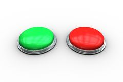 Red and green push buttons Royalty Free Stock Photos