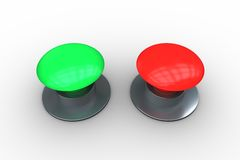 Red and green push buttons Stock Photo