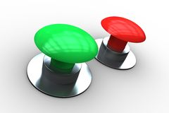 Red and green push buttons Royalty Free Stock Images