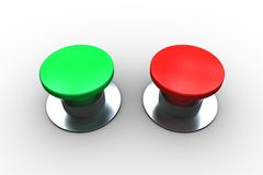 Red and green push buttons Stock Photos