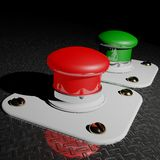 Red and Green pushbuttons Stock Image