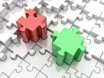Red or green puzzle Royalty Free Stock Photos