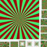 Red green ray burst background set Royalty Free Stock Image
