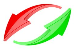 Red and green refresh arrows. 3d shiny signs in circular motion. Vector illustration isolated on white background Royalty Free Stock Photo