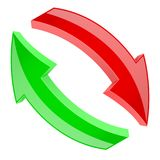Red and green refresh arrows. 3d shiny signs in circular motion. Vector illustration isolated on white background Royalty Free Stock Image
