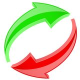 Red and green refresh arrows. 3d shiny signs in circular motion. Vector illustration isolated on white background Stock Photo