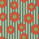 Red green retro flowers Stock Image