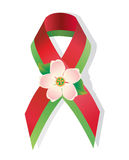 Red and green ribbon awareness and apple flower Stock Photo