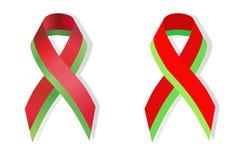 Red and green ribbon awareness Royalty Free Stock Photo
