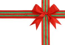 Red and green ribbon and bow Stock Photo