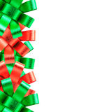 Red and green ribbon frame  isolated on white background Royalty Free Stock Photos