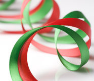 Red and Green Ribbon on White Stock Photography
