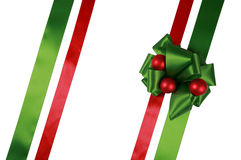 Red and green ribbons with bow Royalty Free Stock Images