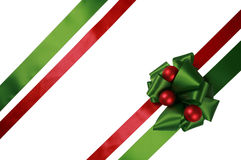 Red and green ribbons with bow Royalty Free Stock Photos