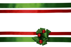 Red and green ribbons with bow Royalty Free Stock Image