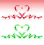 Red and green ribbons in the form of heart Royalty Free Stock Images