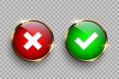 Red and green round glass buttons with golden frame with tick and cross signs isolated on transparent background. Vector vector illustration