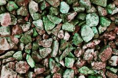 Red-green rubble shade. Rubble red-green shade close-up for texture, background, text or image stock photo
